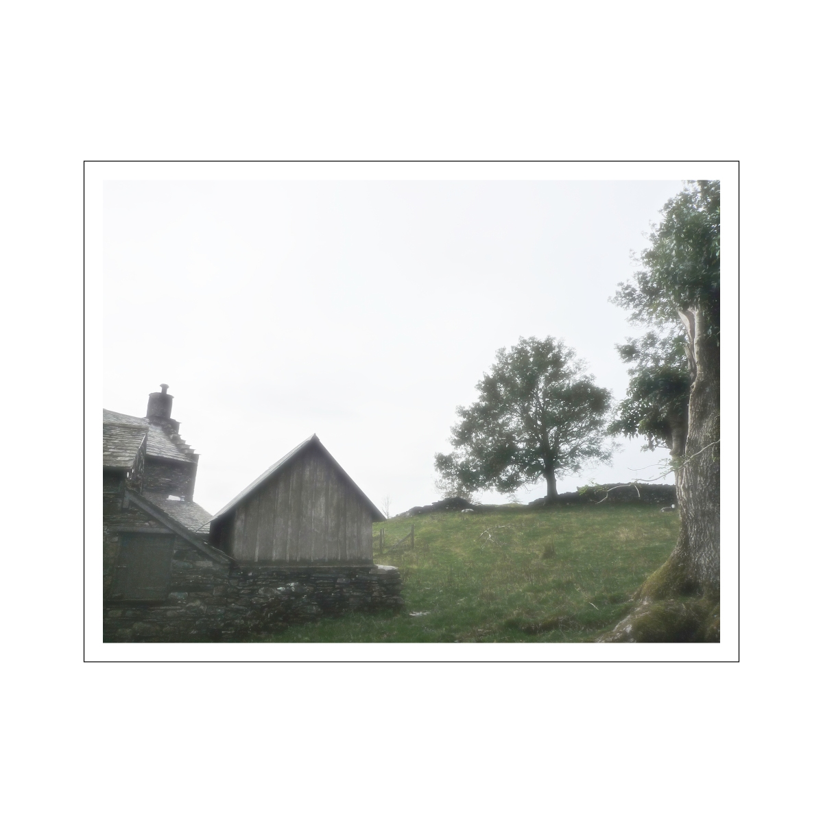 farmhouse in the mist 16x16