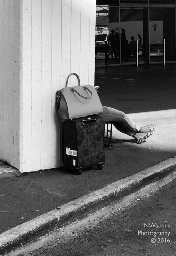 suitcase with legs