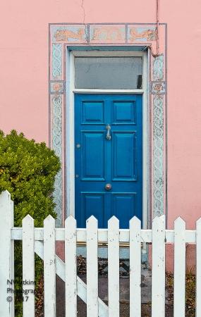 blue door and gate