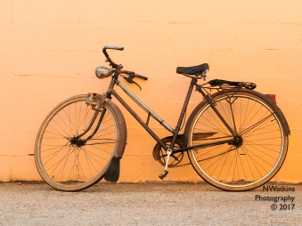 bicycle and block wall
